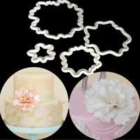 4Pcs Sugarcraft Peony Flower Plastic Fondant Cutter Cake Mold Decorating Tools