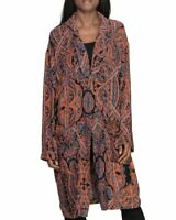 Womens Free People Half Moon Orange Paisley Rayon Duster Cardigan Size XS