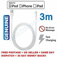 Extra Long 3M Sync & Lightning Lead & USB Charger Cable For iPhone 5s 6 7 8 X UK