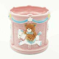 "Lefton Teddy Bear on Carousel Planter Pink 1987 4.25"" Tall Japan"