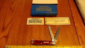 Vintage Schrade N.Y. USA Heritage 2941-R Trapper Red Bone Pocket Knife 1984