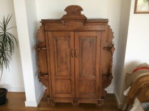 Vintage Artisan Hardwood Decorated And Paneled Two Door Cupboard, Indian.