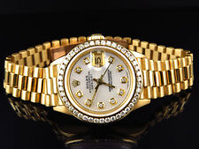 Pre-Owned Ladies 27 MM Rolex President Datejust 18k Yellow Gold Diamond Watch