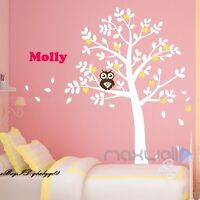 Owl tree Wall Stickers xlarge size Decor vinyl Decal Removable Nursery Kids Baby
