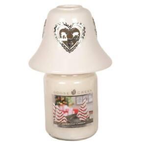 White Ceramic Reindeer Heart Candle Jar Shade 11.5cm