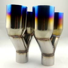 """2PC Blue Burnt Duo Straight Exhaust Pipe Tip Polished Stainless Steel 2.5""""X 3.5"""""""