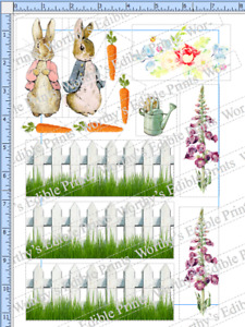 Peter & Flopsy Bunny Rabbit Cupcake Toppers (including Fence) Edible Icing Sheet