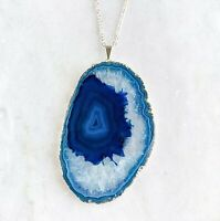 Blue Agate Slice Pendant - Silver Plated - Blue Agate Necklace - Jewelry Geode