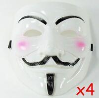 4 White V for Vendetta Guy Fawkes Anonymous Costume Halloween Cosplay Masks