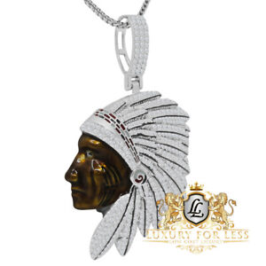 Genuine Silver Native American Indian Head Apache King Charm Pendent Chain Set