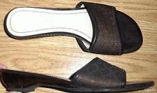 ETIENNE AIGNER brown LOGO Signature A JACQUARD mule sandals BLOCK HEELS 7 NARIEN