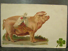 cpa fantaisie cochon porc sac de louis d'or trefle