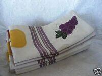 7 Extra Large Tan Print Napkins - Grapes/ Apples/ Pears