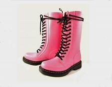 Doc Dr. Martens Hvy Duty Pink Rubber Wellington Lined 14-Eye Tall Boots Wms DISC