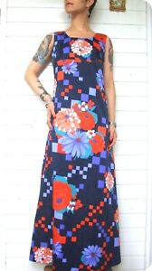 Vintage Maxi KLEID long DRESS 70er Blumen 70´s Robe Hippie Volant Empire Flowers