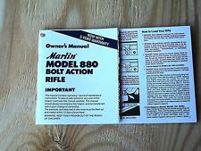MARLIN MODEL 880 BOLT ACTION RIFLE 22LR OWNER'S MANUAL 9 PAGES DATED 01/1993