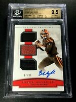 BAKER MAYFIELD 2018 NATIONAL TREASURES TRIPLE NFL GEAR AUTO RC /99 BGS 9.5 10