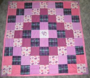 Large HEARTS BLOCK QUILTED Colorful 2 layer Fleece Throw One-of-a Kind