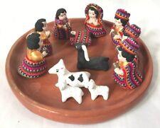 Guatemalan Folk Art ~ Woven Cloth on Terracotta ~ 13 Piece Nativity Set on Plate