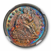 1853 Seated Liberty Half Dime NGC MS 65 Uncirculated Monster Toned CAC
