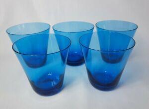 5 MCM 1950s Turquoise Blue Tumblers, Liquor Glasses, Likely Swedish or Polish