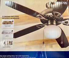 Harbor Breeze Ceiling Fan Light Kit, Antique and Polished Brass, White #0338705