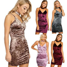 Womens Sleeveless Backless Dress Sexy Deep V Collar Bodycon Velvet Party Dresses