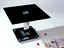 Lamp Table Side End Coffee Table Black Glass Square Top Chrome Frame