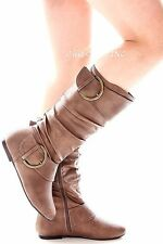 Women Tall Knee High Mid Calf Faux Leather Low Flat Heels Causal Riding Boots