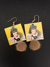 Retro vintage girl headband phone baby doll kitsch funky quirky POM POM Earrings