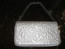 CHANEL SILVER CAMELLIA FLAP EVENING BAG CHAIN STRAP/CLUTCH... FITS I PHONE 8+