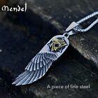 MENDEL Mens Egyptian Eye of Horus Angel Wing Pendant Necklace Stainless Steel