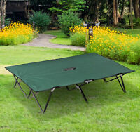 """Outsunny 76"""" Two Persons Double Wide Folding Camping Cot With Bag Green"""