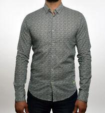 Scotch & Soda Mens Off White Navy Shell Print Regular Fit Button Down Shirt M