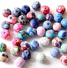 30Pcs Polymer Clay Flower Design Beads Finding--12mm