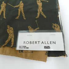 """ROBERT ALLEN Fabric Golf HOLE IN ONE Pattern DISCONTINUED 25"""" x 25"""" Forest GREEN"""