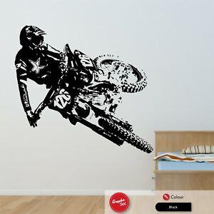 Motocross Dirt Bike Vinyl Wall Art Sticker Boys Bedroom Motorbike Vinyl Decal