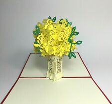 Yellow Roses Pop Up Card.3D Valentines Day/Love/Birthday/Thank You/Get Well Card