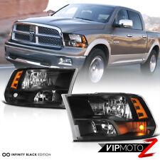 09-18 Dodge Ram Quad Headlights Black Housing Clear Lens Amber Corner Lamp Pair
