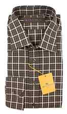 Men's ETRO Brown Plaid Cotton Spread Collar Dress Shirt 44 XL 17 1/2 NWT