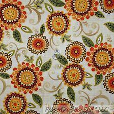 BonEful Fabric Cotton Quilt Cream Red Orange Green Sunflower Flower Leaf M Scrap