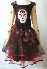 Girls Day of the Dead Fancy Dress Costume Halloween 7 8 9 Mexican Senorita Skull