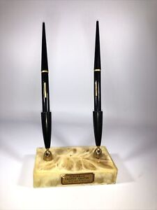 "Fountain Pen Desk Set Bakelite? Base Original Stickers made in USA 8""x 4""x 2.5"""