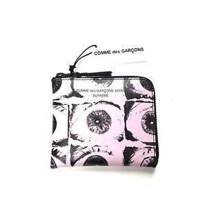 NWT Supreme Comme des Garcons SHIRT Eye Print Zipper Wallet Pink SS17 AUTHENTIC