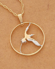 "Bermuda LongTail Bird Pendant Necklace. Hand cut Coin -1"" diameter ( # 38 )"