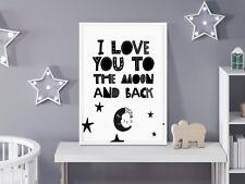 I Love You To The Moon & Back Scandinavian Bedroom / Nursery Print Black & White