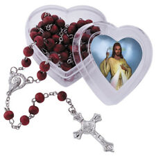 Rosary, Red wooden beads in Divine heart box with 3 free prayer cards