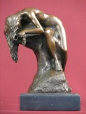 SIGNED BRONZE SCULPTURE NUDE MODERN ART HANDCRAFTED  STATUE ON  MARBLE BASE