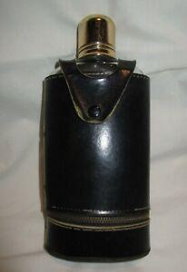 Vintage Alcohol Glass Bottle Flask Kit / Leather Travel Drink Kit