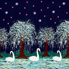 By 1/2 Yard Michael Miller Fabric ~ Swan Lake in Midnight Navy Border Print